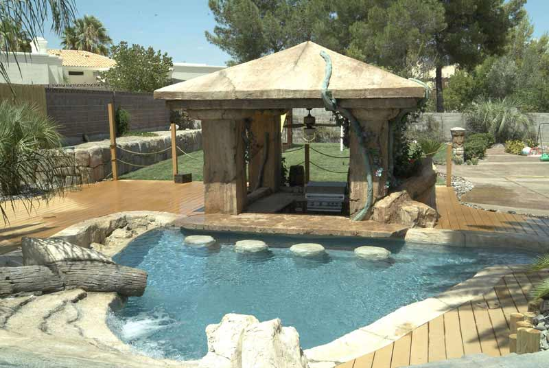 Swim up bar by arizona falls las vegas for Pool design with swim up bar