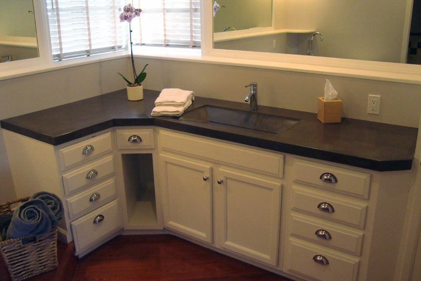 More concrete countertop photos by arizona falls las vegas for Bathroom l shaped vanities